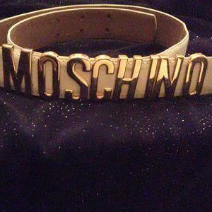 Moschino white patent leather belt